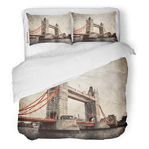 Semtomn Decor Duvet Cover Set Twin Size Tower Bridge in London England The UK Artistic Vintage 3 Piece Brushed Microfiber Fabric Print Bedding Set Cover
