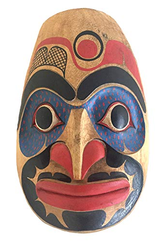 OMA Native American Wall Decor Art Warrior Hawk Protection Wall Mask Hand Crafted Solid Wood - Premium Quality