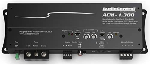 300 watts RMS x 1 at 2 ohms AudioControl ACM Series ACM-1.300 Compact Mono Subwoofer Amplifier 175 watts RMS x 1 at 4 ohms