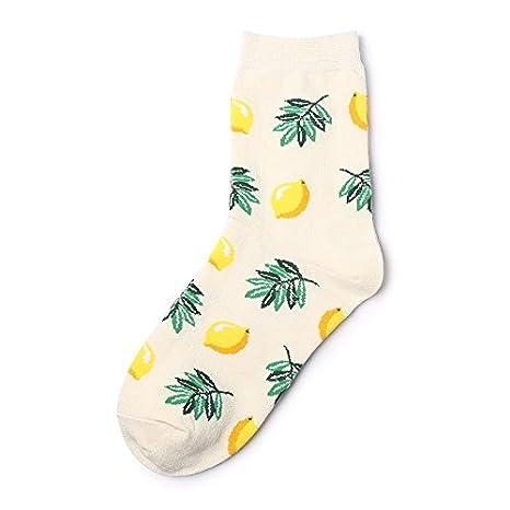 KALENAME (12 Pares Calcetines Femeninos De Frutas Tropicales En Calcetines De Tubo Calcetines De Algodón De Banana De Aguacate Calcetines De Marea De La ...