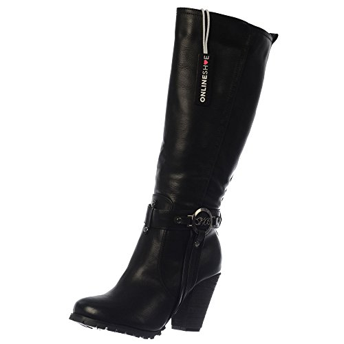 Onlineshoe Women's Ladies Tall Knee High Biker Boots with Straps and Heel Black With Buckle