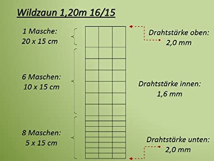 50m Wildzaun Forstzaun 120//16//15 Spanndraht Pfosten