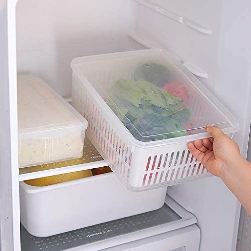 Gebuter Refrigerator Fresh Box Container Fruit Vegetable Drain Crisper Kitchen Storage Containers Plastic for Home