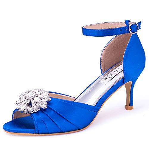 SheSole Women's Low Heel Wedding Sandals Dress Shoes Rhinestones Open Toe Pumps Royal Blue US Size 10