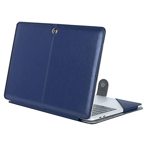 MOSISO PU Leather Case Compatible 2018 MacBook Air 13 A1932 Retina Display / 2018 2017 2016 MacBook Pro 13 A1989/A1706/A1708, Book Folio Protective Cover Stand Sleeve, Navy Blue