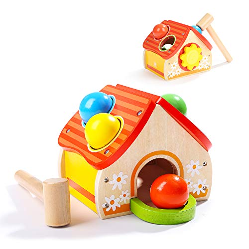 TOP BRIGHT Wooden Pounding Toys for Toddlers with Hammer and 4 Balls Educational Toys for 1 Year Olds Boys Girls