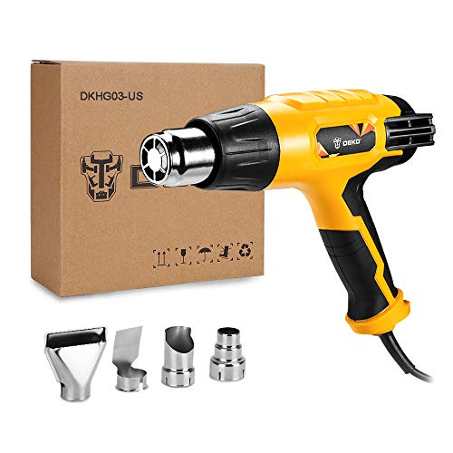 DEKO Heat Gun 1500W Hot Air Gun Kit Variable Temperature Control with 3-Temp Settings 4 Metal Nozzles Attachments Power Tool