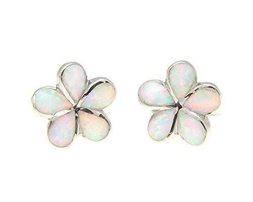 925 sterling silver Hawaiian plumeria flower white synthetic opal post stud earrings 12mm (Ring Created Silver Opal Flower)