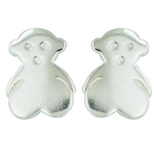 (925 Solid Sterling Silver Teddy Bear Stud Earrings - Children,Girls,Kids and Women Jewelry)