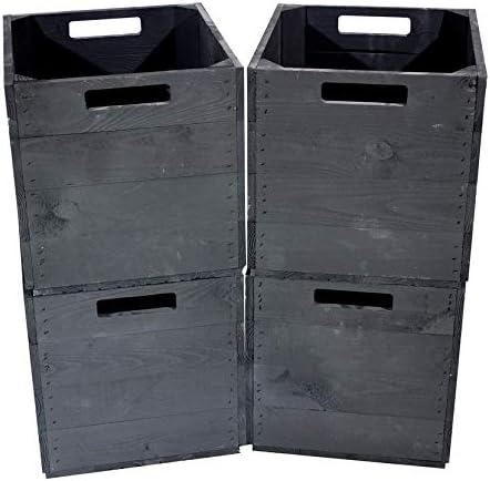 Kontorei®® - Caja de Madera Negra para estanterías Kallax, 33 cm x 37,5 cm x 32,5 cm, Juego de 1, 2, 3, 4, 6, 8, 9, 12 Unidades IKEA: Amazon.es: Juguetes y juegos