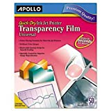 ** Quick-Dry Transparency Film, Removable Sensing Stripe, Letter, Clear, 50/Box **
