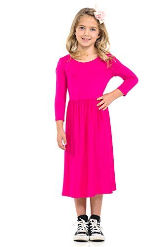 Pastel by Vivienne Honey Vanilla Girls' Fit and Flare Midi Dress with Easy Removable Label X-Large 11-12 Years Hot Pink