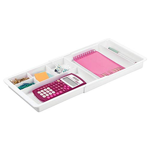 mDesign Adjustable, Expandable Divided Office Desk Drawer Organizer Tray for Office Supplies, Gel Pens, Pencils, Markers, Tape, Erasers, Paperclips, Staples - 7 Compartments, 1.25