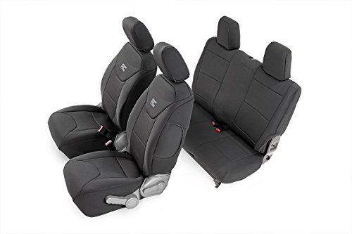Rough Country 91005 Jeep Neoprene Seat Cover Set | Black | 07-10 Wrangler JK 2D (For Wranglers Seat Jeep Covers)