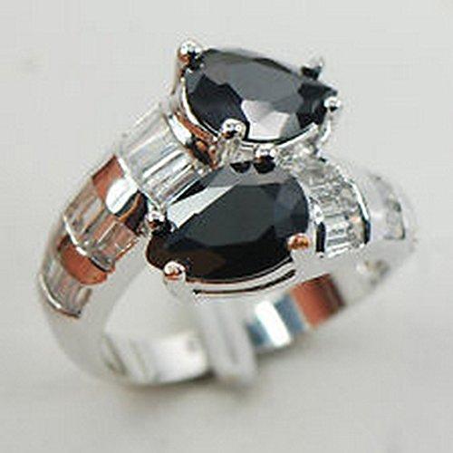 Topaz Onyx - YD Jewels - Black Onyx White Topaz 925 Sterling Silver Gemstone Ring Size 9 F962