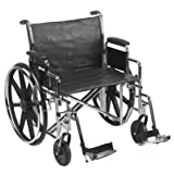 24' Bariatric Wheelchair, Steel Frame, Black, Detachable Desk Arm, Swing Away Foot Rest, 450 Lb. Capacity