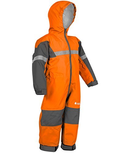 Oakiwear Kids One-Piece Waterproof Trail Rain Suit, Classic Orange, 6/7