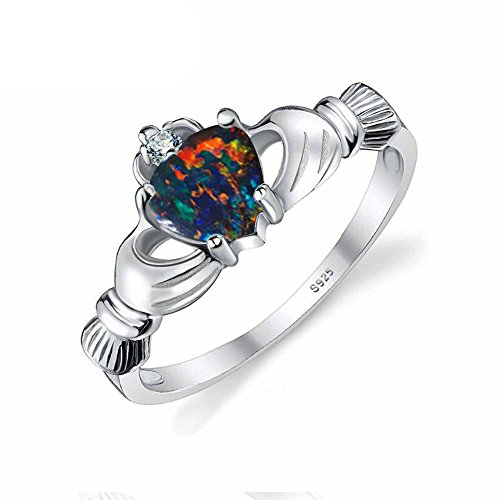 PSRINGS Rings Heart Cut 0.4ct Black Fire Opal 925 Sterling Silver Jewelry Multicolor Irish Claddagh October Birthstone (Lil Viking Costume)