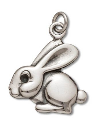 Sterling Silver Flat Rabbit Charm Pendant (17 x 18 (Rabbit Charms Pendant)