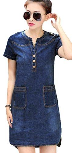 Youhan Women's Vintage Fitted V-Neck Short Sleeve Denim Dress (Large, Blue)