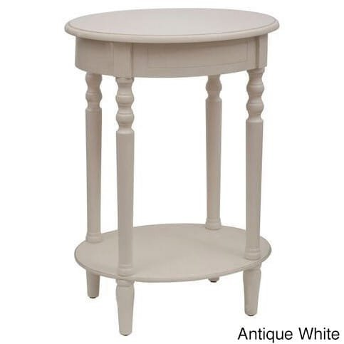 Décor Therapy FR1473 Simplify Oval Accent Table, Antique White - Table Distressed White Wood