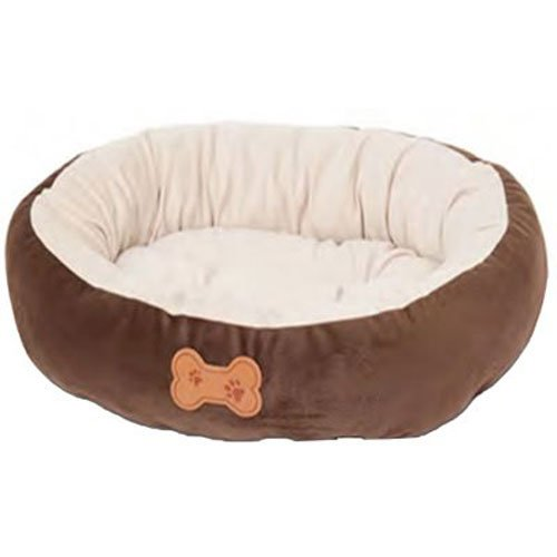 Aspen Pet Oval Cuddler Pet Bed, 20-Inch by 16-Inch, Chocolate Brown (Bed For Small Pet)