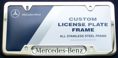 Genuine mercedes benz stainless steel license plate frame for Mercedes benz stainless steel license plate frame