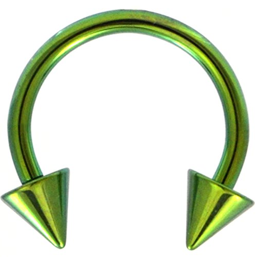 14G(1.6mm) Green Titanium IP Steel Circular Barbells Horseshoe Rings w/Spike Ends (Sold in Pairs) (14 Gauge 1/2