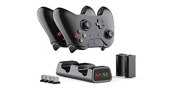ElecGear Estación de Carga Xbox One con 2X 1200mAh Batería Recargable, Cargador Doble Mando para Xbox One/Xbox One S/Xbox One X y Elite Controlador Inalámbrico, 4X Adaptador USB Incluido: Amazon.es: Electrónica