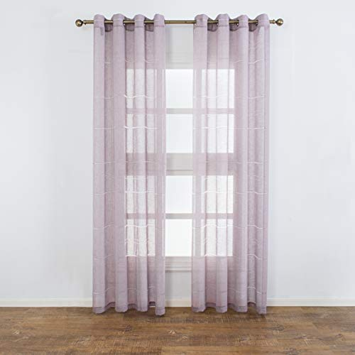 (Aquazolax Linen Semi Sheer Curtains Striped Grommet Voile Window Treatment Panels Kids Bedroom Curtains, Set of 2, 52 Inch x 95 Inch, Purple)