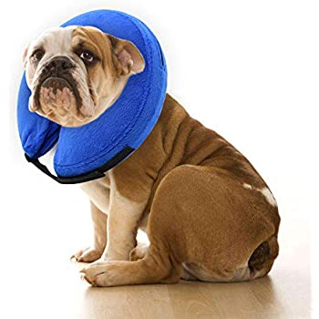 E-KOMG Dog Cone After Surgery, Protective Inflatable Collar, Blow Up Dog Collar, Pet Recovery Collar for Dogs and Cats Soft (XL)