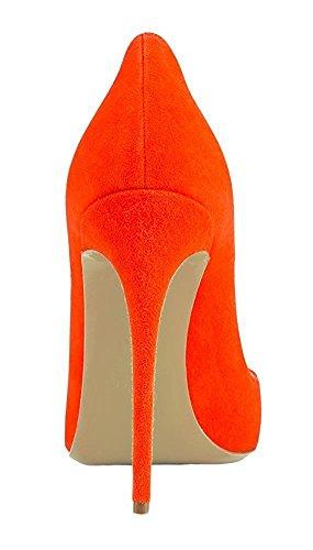 Emiki Escarpins Femme Pointed High Heels Couleur Unie Suède Talons Hauts Grande Taille Femme Chaussures Orange hzzA9i