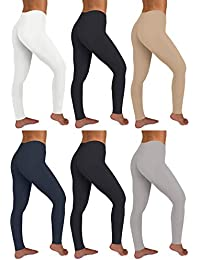 Womens 6 Pack Stretch Cotton Stretch Full Length Footless Legging Tights