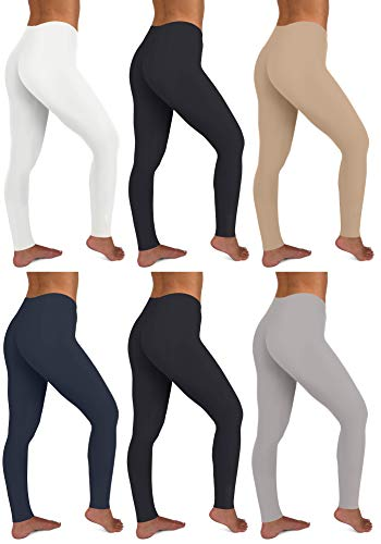 (Sexy Basics Womens 6 Pack Stretch Cotton Stretch Full Length Footless Legging Tights (XX-Large, 6 Pack -Black/Nude/White/Charcoal/Navy/Grey))