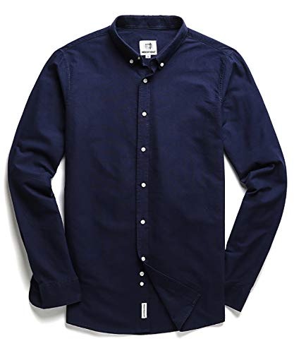 - Men's Oxford Long Sleeve Button Down Casual Dress Shirt,Navy Blue,Large