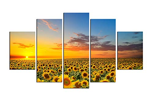 PulsatingFingertip-5 Panels Sunflower Field Canvas Prints flowers Artist Canvas Wall Pictures Oil Painting for Living Room Decoration No Frame (Sunflower 5 Panel)