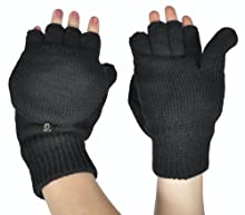 Alki'i Solid Colored Thermal Insulation Fingerless Texting Gloves with Mitten Cover, Black