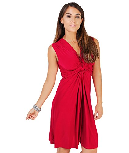 ss Summer Dress Knot Front Top (9354-RED-08.1),Red,4 ()