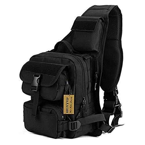 Huntvp Tactical Military Daypack Sling Chest Pack Bag Molle Backpack Large Shoulder Bag Crossbody Duty Gear for Hunting Camping Trekking ()