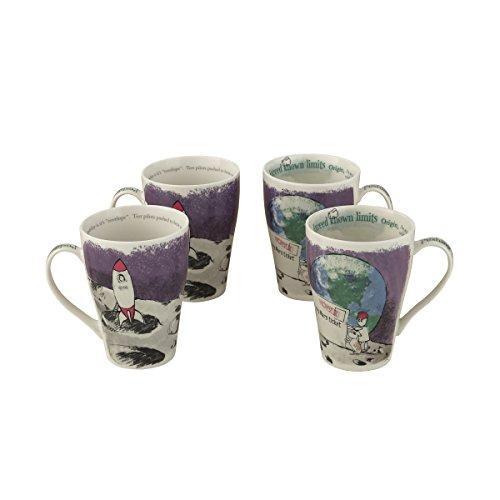"Cardew Design""Pushing The Envelope"" Mug (Set of 4), 15 oz, Multicolor"