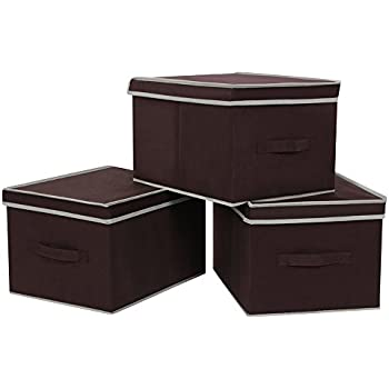 SONGMICS Large Storage Bins Cubes with lids and Dual Non-woven Handles for Home Closet Bedroom Drawers Organizers, Flodable, Set of 3, Brown URLB40K