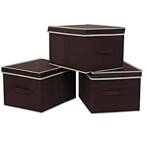 SONGMICS Set of 3 Large Foldable Storage Box with Lid Basket Bin Container Dark Brown URLB40K