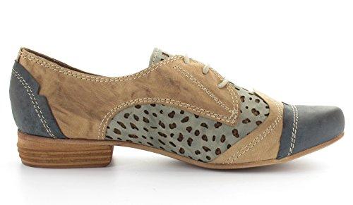 CHARME 923-3, Damen Schnürschuhe, natur-grau kombiniert