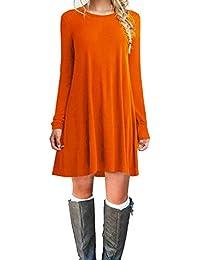Womens Casual Plain Fit Flowy Simple Swing T-Shirt Loose Tunic Dress
