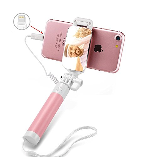 Selfie Stick,Extendable Monopod Adjustable Smart Phone Holder with Mirror Compatible with iPhone8/8p/X 7/7plus iPhone 6S/6 Plus No Apps, No Downloads (Orange)
