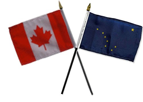 ALBATROS Canada Canadian with State Alaska Flags 4 inch x 6 inch Desk Set Table with Black Base for Home and Parades, Official Party, All Weather Indoors Outdoors