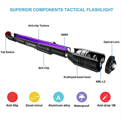 LETION Rechargeable LED Flashlight [2 Pack], Camping Flashlight 1500 High Lumens Waterproof Different Modes for Camping Fishing Bicyle,18650 Batteries(4 pcs) and Charger Included