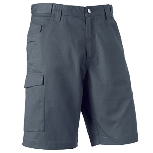 Russell Poly/cotone twill Workwear shorts Convoy Grey