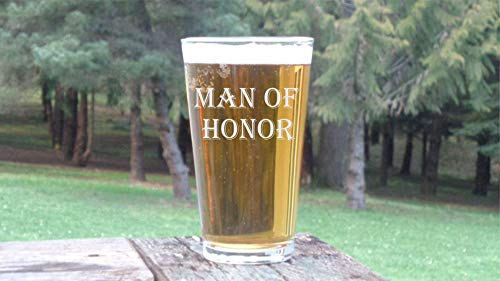Man of Honor Pint Glass Male Bridesmaid Glasses Gift for Brides Man Wedding Party Glasses