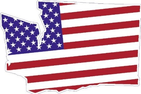 4' STATE OF WASHINGTON shaped american flag united states sticker great for car auto refridgerator tool box or any surface.